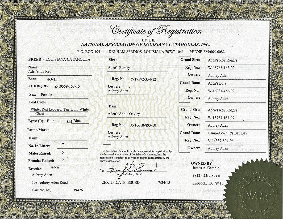 Aden's Ida Red Registration